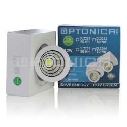12W LED COB DOWNLIGHT kvadratinis šviestuvas, 118*180*50 mm, Reguliuojamas, Balta šviesa