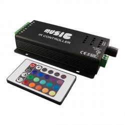 Muzikinis LED valdiklis su nuotolinio valdymo pultu, 18 A, 12 VDC