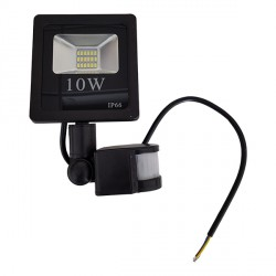 10 W   LED SMD prožektorius, 205*118*37 mm, Neutrali balta šviesa,  IP66, Su jutikliu