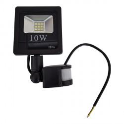 10 W   LED SMD prožektorius, 205*118*37 mm, Šilta balta šviesa, IP66, Su jutikliu