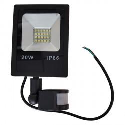 20 W   LED SMD prožektorius, Šilta balta šviesa, IP66, Su jutikliu