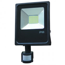 30 W   LED SMD prožektorius, 300*183*50 mm, Šilta balta šviesa, IP66, Su jutikliu