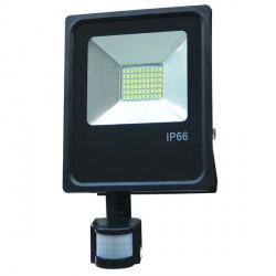 50 W   LED SMD prožektorius, 360*232*60 mm, Šilta balta šviesa, IP66, Su jutikliu
