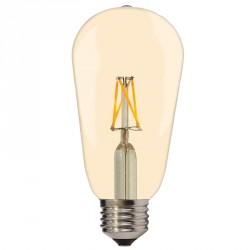 LED lemputė žvakė, Ø64*140 mm, ST64, 6.5 W, 810 LM, Šiltai balta šviesa, E27, 175-265 V, Auksinio atspalvio stiklas