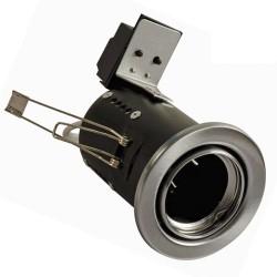 Priešgaisrinis fiksuojamas korpusas, LED įleidžiamam GU10, IP20, Nuožulna GU10, Atlasinis chromas