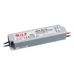 35W, LED maitinimo šaltinis, GPV-35-12, 12V, 3A,149*32*28 mm, IP67, GLP atsparus drėgmei