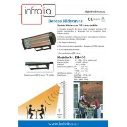 BOREAS, Sensorinis 2.3KW, IR spindulių vidutinių bangų šildytuvas su PIR šviesos jutikliu,IP34.